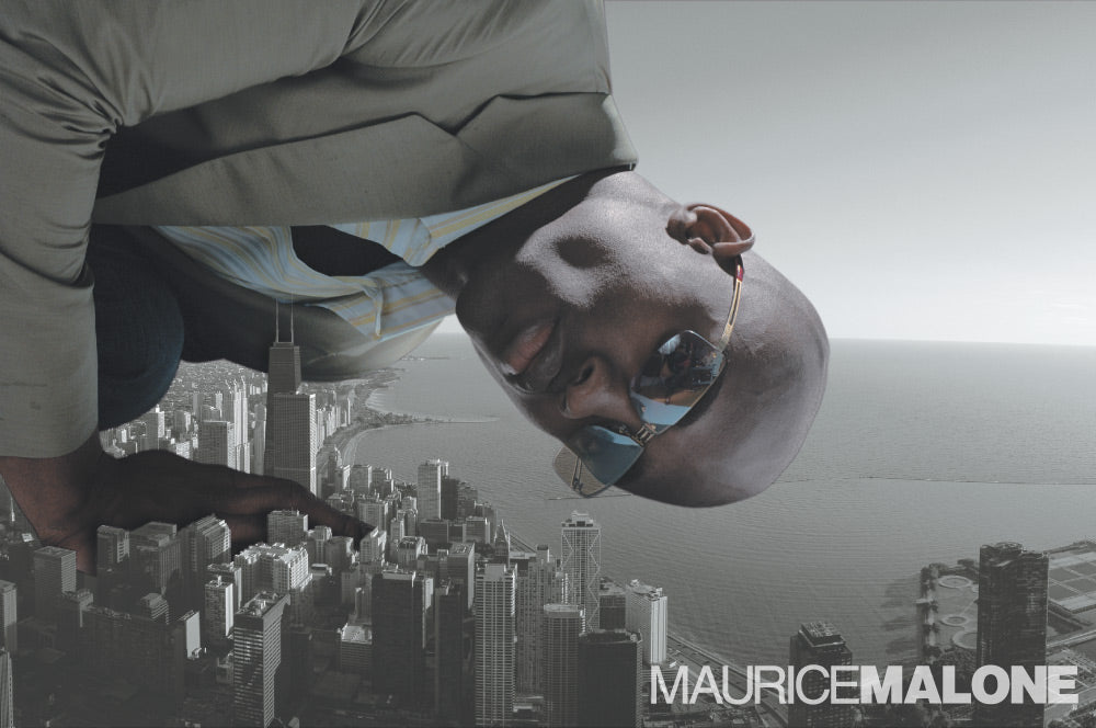 Colossal man over Chicago in Maurice Malone eyewear - 2004 advertisement