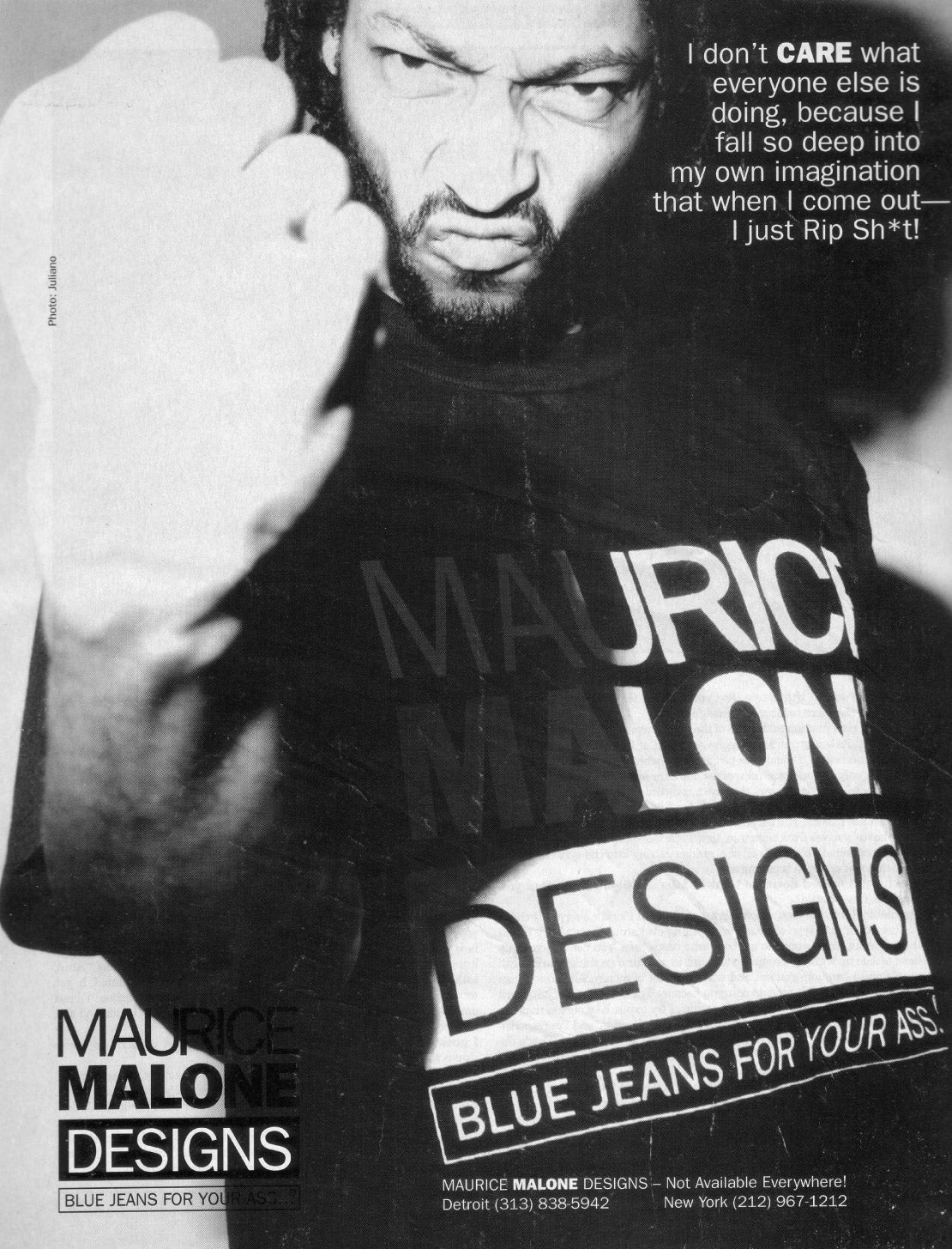 Fashion designer Maurice Malone appears in his own advertisement - Rip Shit