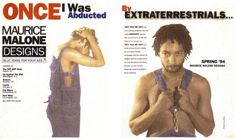 denim designer maurice malone wears his brands overalls in 90s streetwear advertisement - Once I was abducted by extraterrestrials