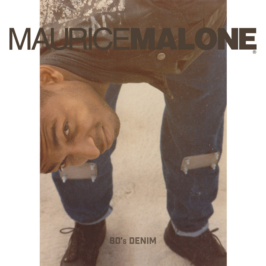 80s photo of young denim designer Maurice Malone in metal knee pad jeans handmade in his moms basement