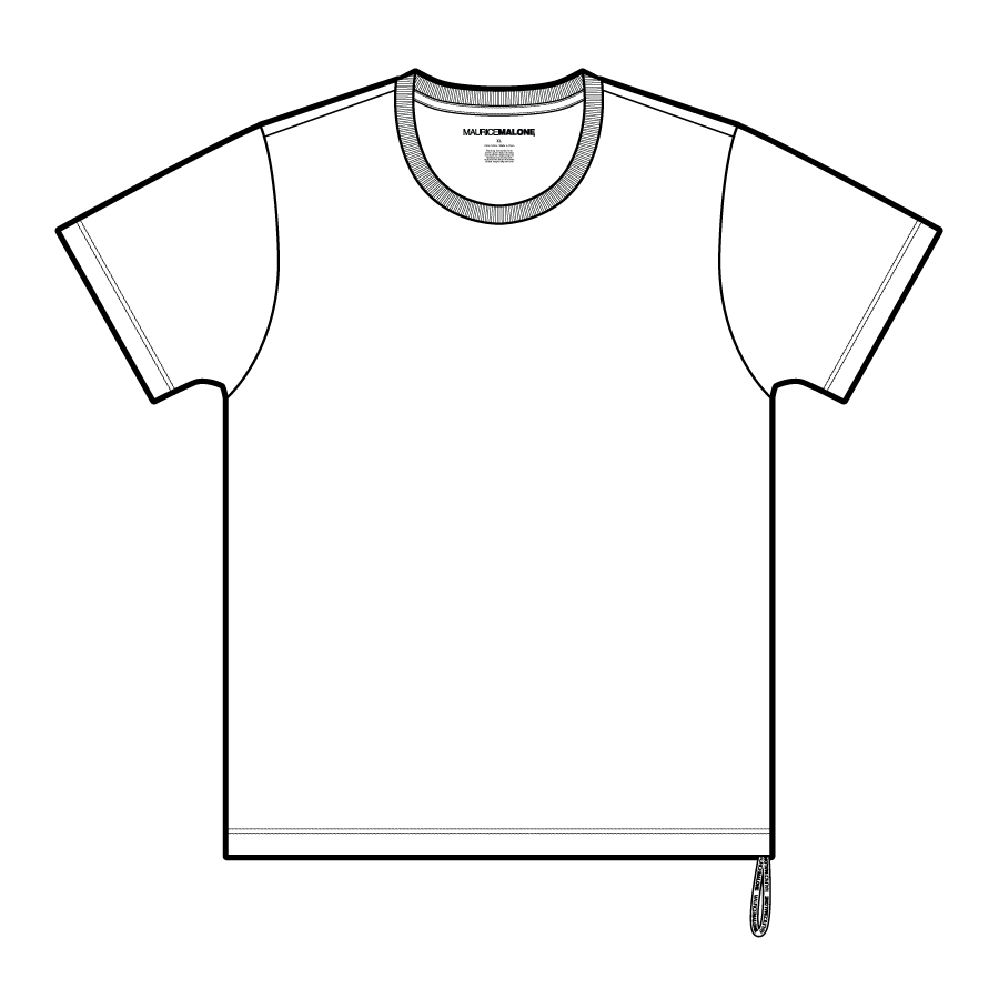 Fit chart with size measurements for Maurice Malone core branded t-shirts