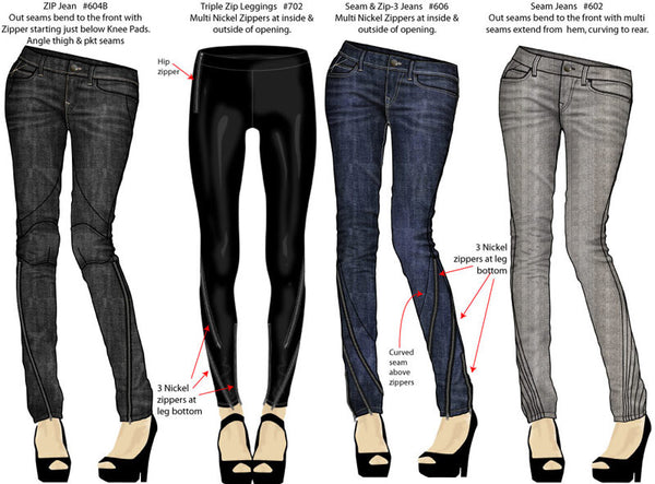 Women's jeans and legging designs by Maurice Malone