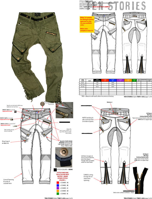 Example of men's cargo pants fashion tech pack by designer Maurice Malone