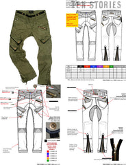 Men's cargo tech pack sample by designer Maurice Malone