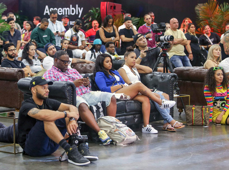 The crowd watching Karl Kani, Maurice Malone, Damon Dash & others at the Assembly panel by Agenda Show, Liberty Fairs