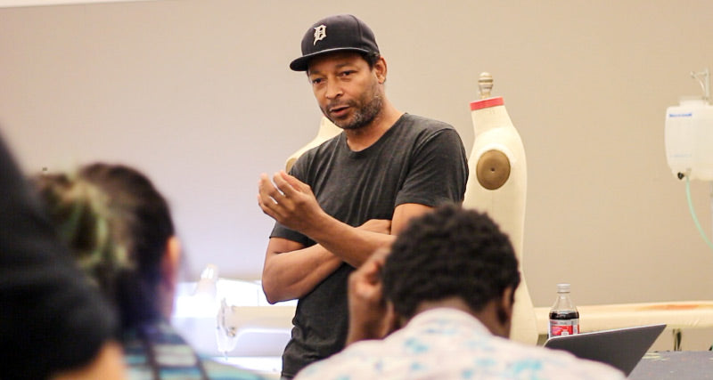 African American denim designer Maurice Malone instructs and talks history at Parson's School of Design
