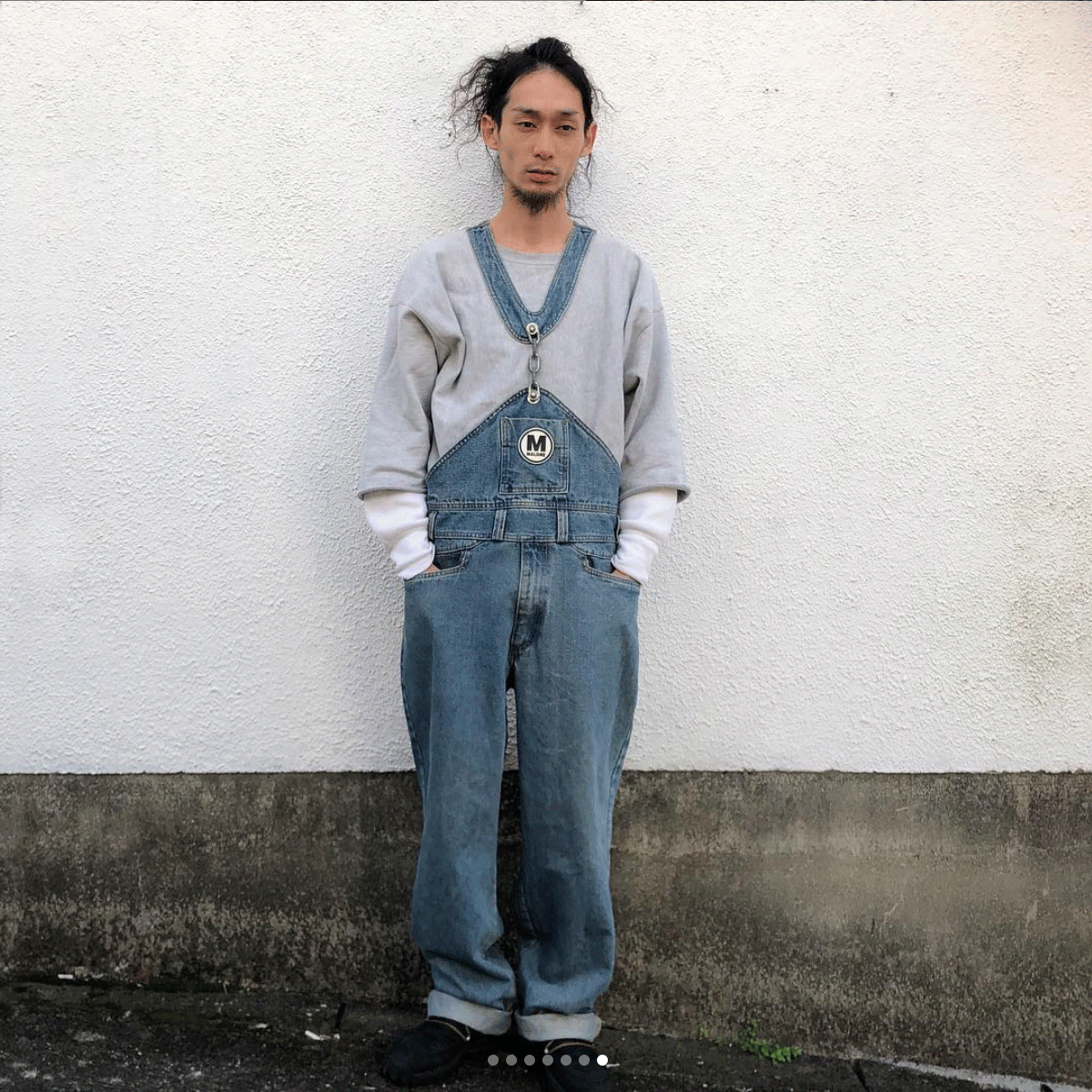 @eat_gifu instagram photo wearing Maurice Malone made in USA chainlink overalls