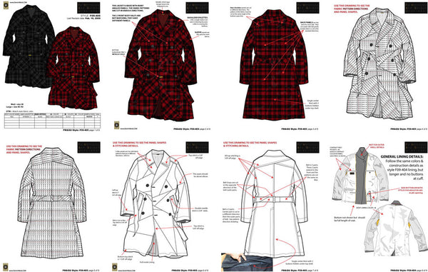 Designer Maurice Malone fashion tech pack design samples, created 2009.