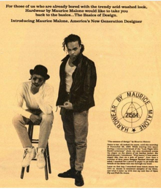 December 1987 fashion advertisement features young African American designer Maurice Malone & friend Jerome Mongo.