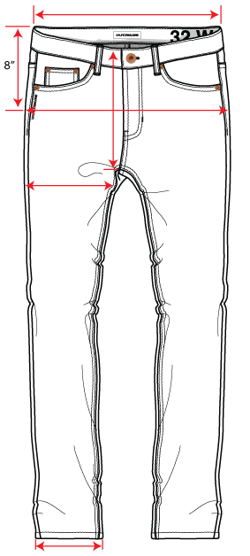 Drawing explains how to measure jeans for the fit guide