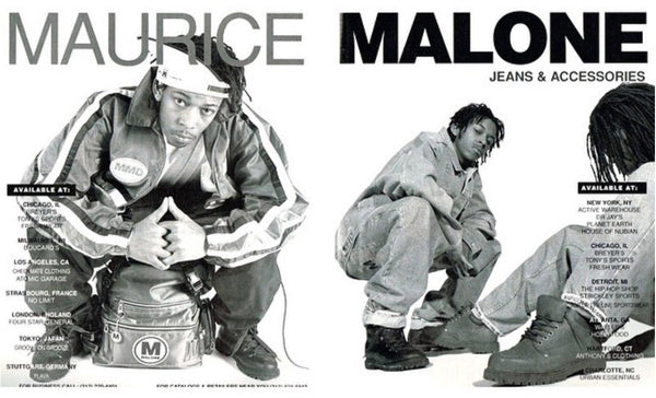 Maurice Malone 1993 hip-hop streetwear advertisement photographed by Tar