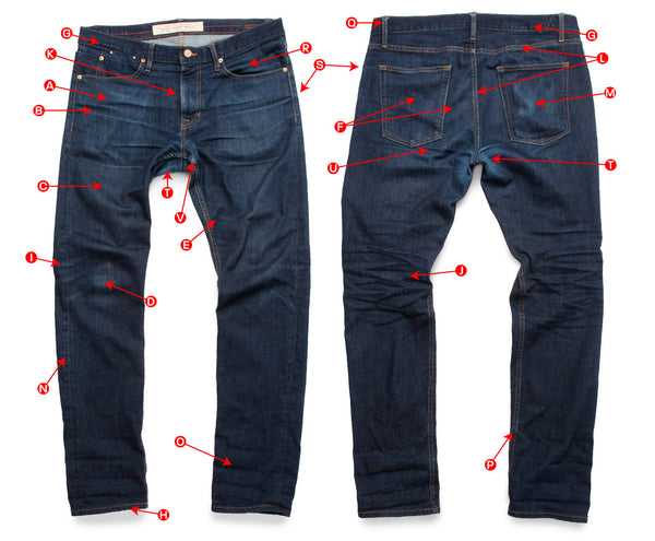 Defining the details of faded raw denim jeans by Maurice Malone.