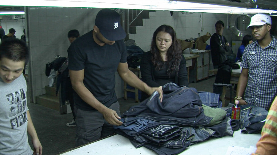 Design Director Maurice Malone and Designer Sedgwick Cole Jr. working at Vigoss denim factory in China, November 2010.