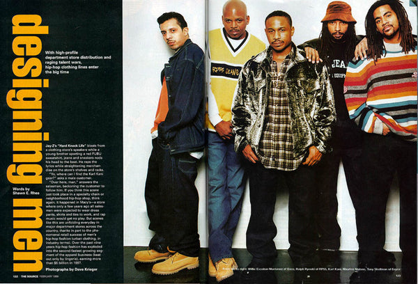 Top '90s Urban Streetwear Designers and black brand owners, Willie Esco, Ralph Reynolds, Maurice Malone, Karl Kani with branding expert/owner Tony Shellman in the Source magazine.