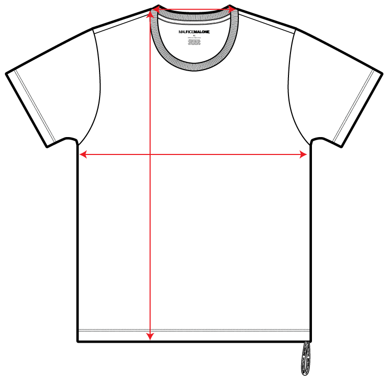 Guide shows how to measure Maurice Malone designer t-shirt in fit chart