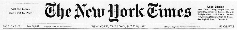 The New York Times, July 29, 1997 review of Designer Maurice Malone's NY Fashion Week Show