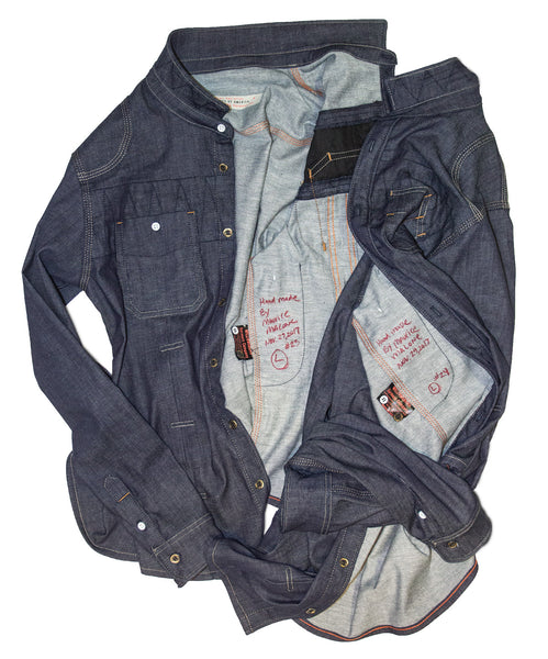 Handmade raw denim shirts sewn and signed by denim designer Maurice Malone