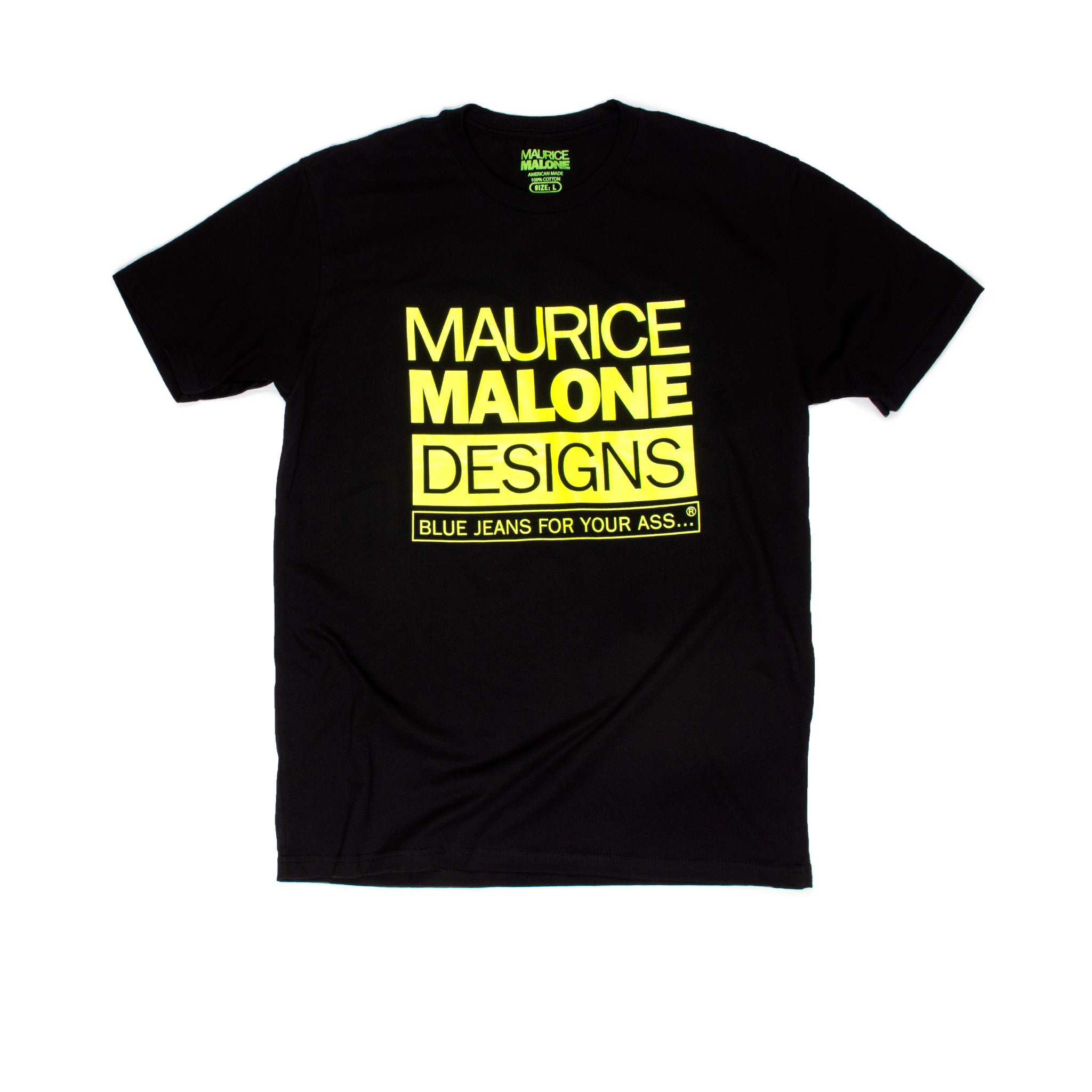 Black fluorescent yellow logo Maurice Malone iconic logo T-Shirt
