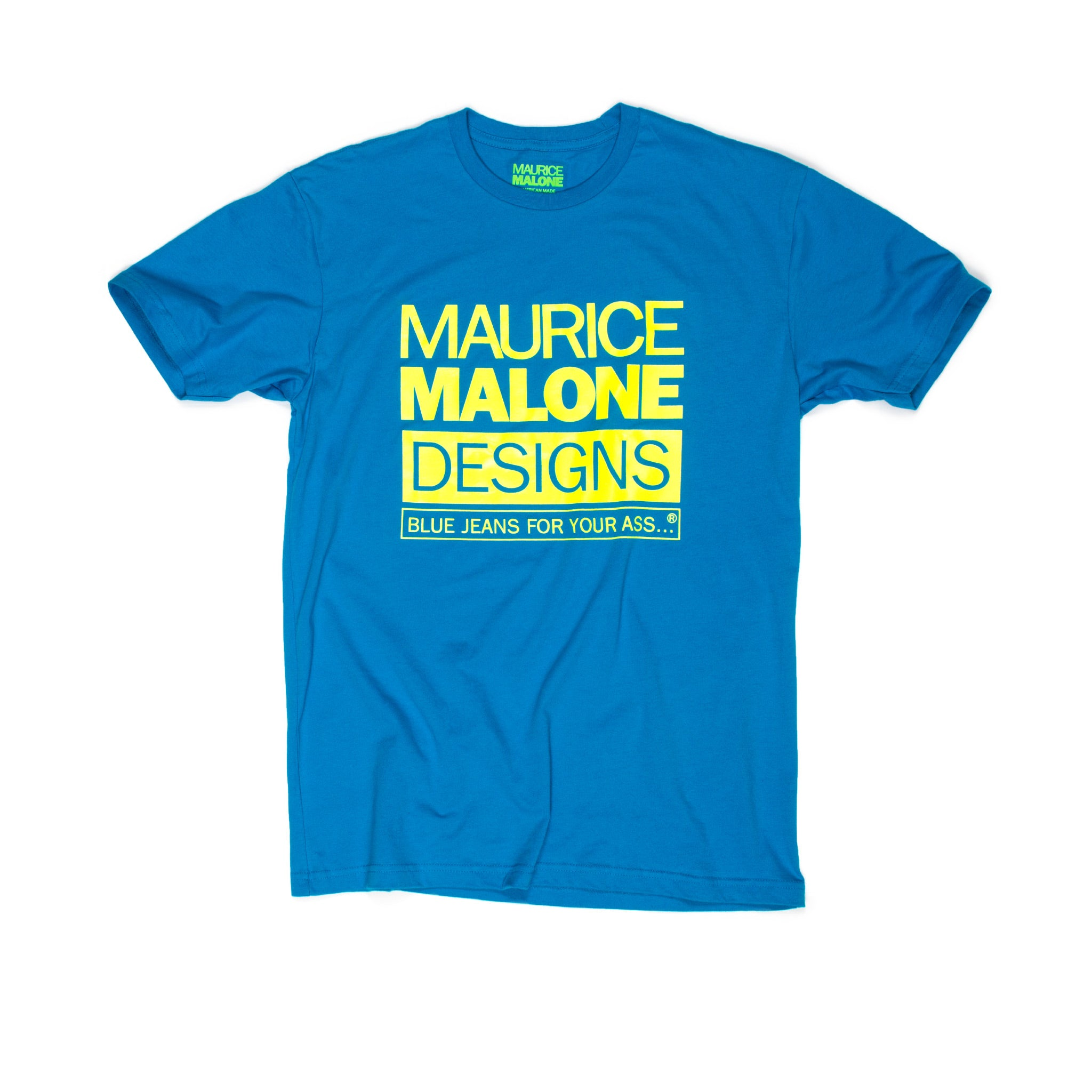 90's streetwear remake tee with blue fluorescent logo by Maurice Malone