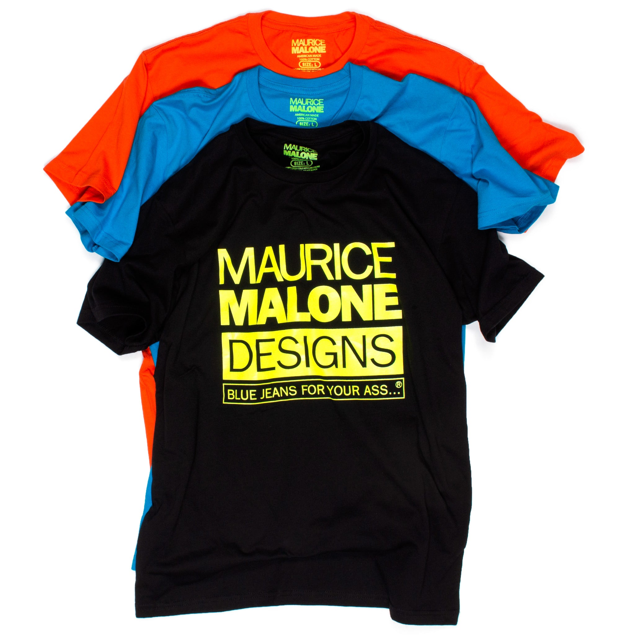 Colors of the maurice Malone iconic 90's Hip Hop logo t-shirt with fluorescent print