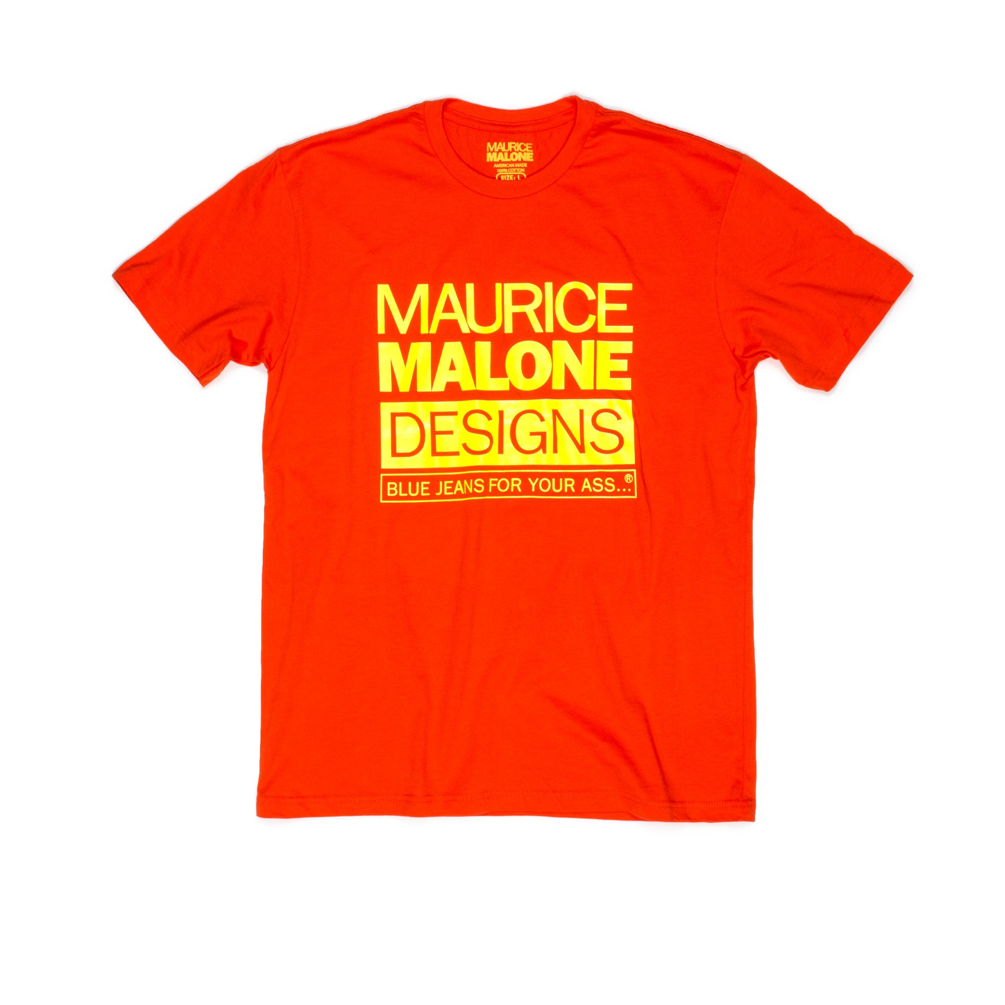 Hip Hop heritage orange fluorescent yellow logo Maurice Malone T-Shirt