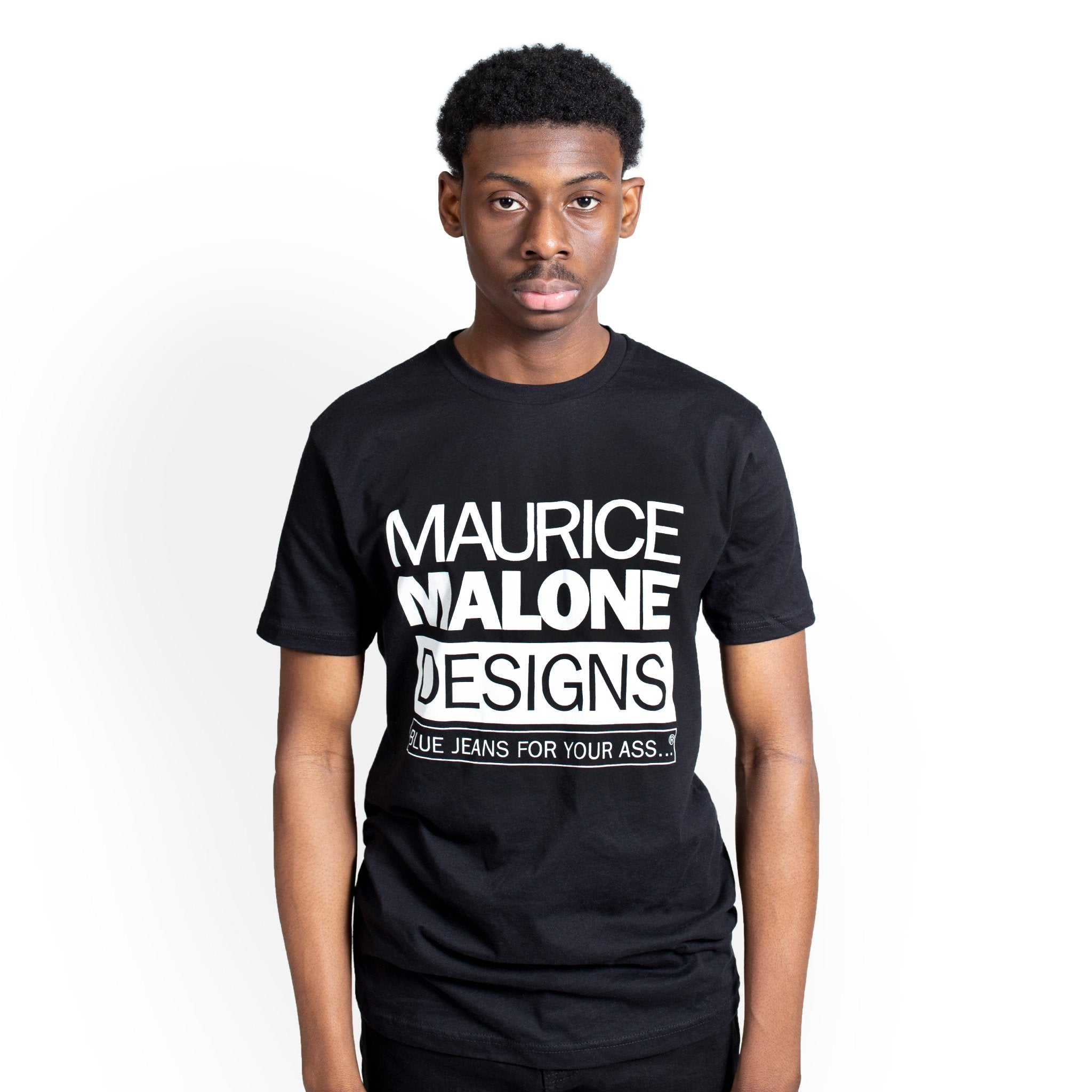 Blue Jeans For Your A... black logo t-shirt by Maurice Malone