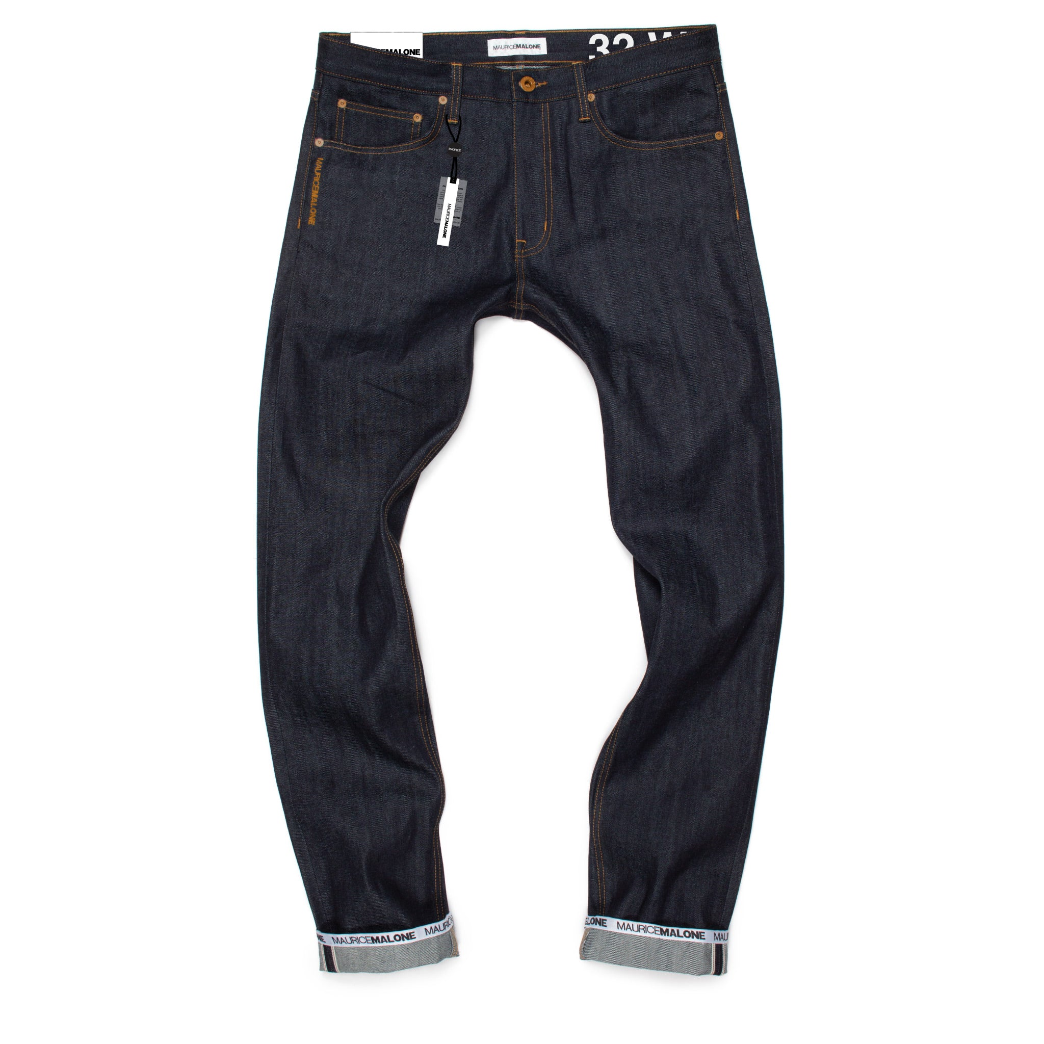Maurice Malone brand jeans in selvedge raw denim with logo cuff