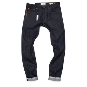 Maurice Malone brand raw selvedge logo cuff jeans