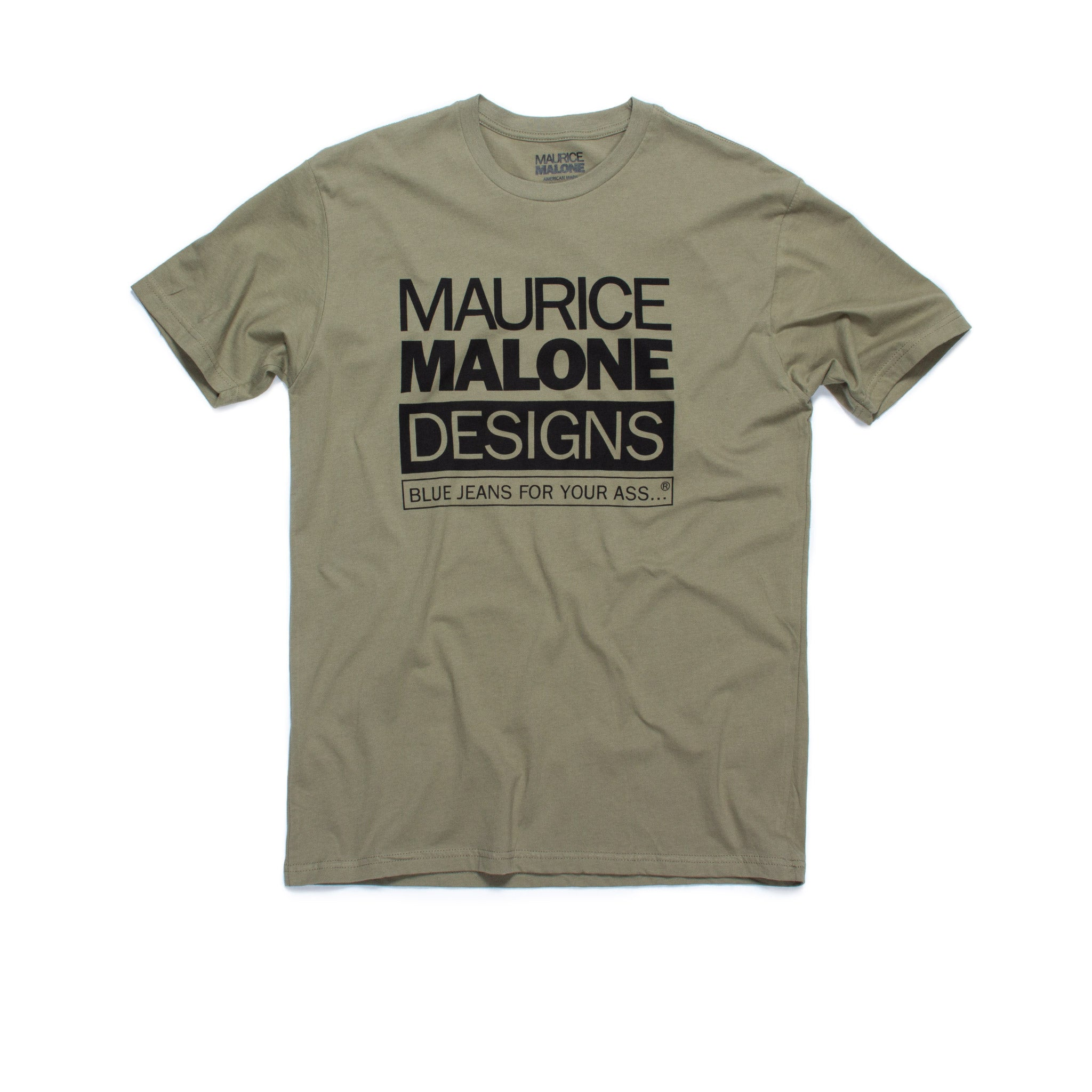 Olive Green iconic 90s designer streetwear brand t-shirt by Maurice Malone