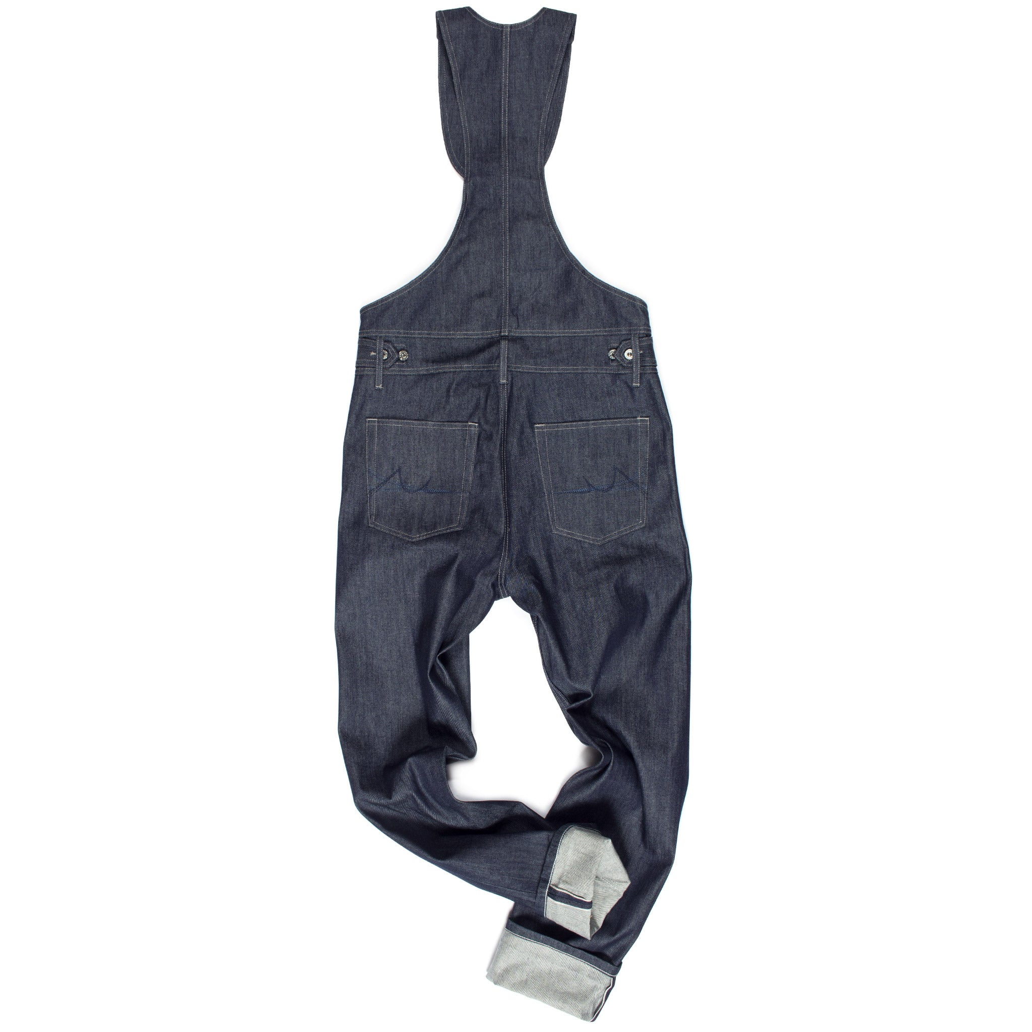 Rear of chain-link selvedge raw denim overalls by Maurice Malone