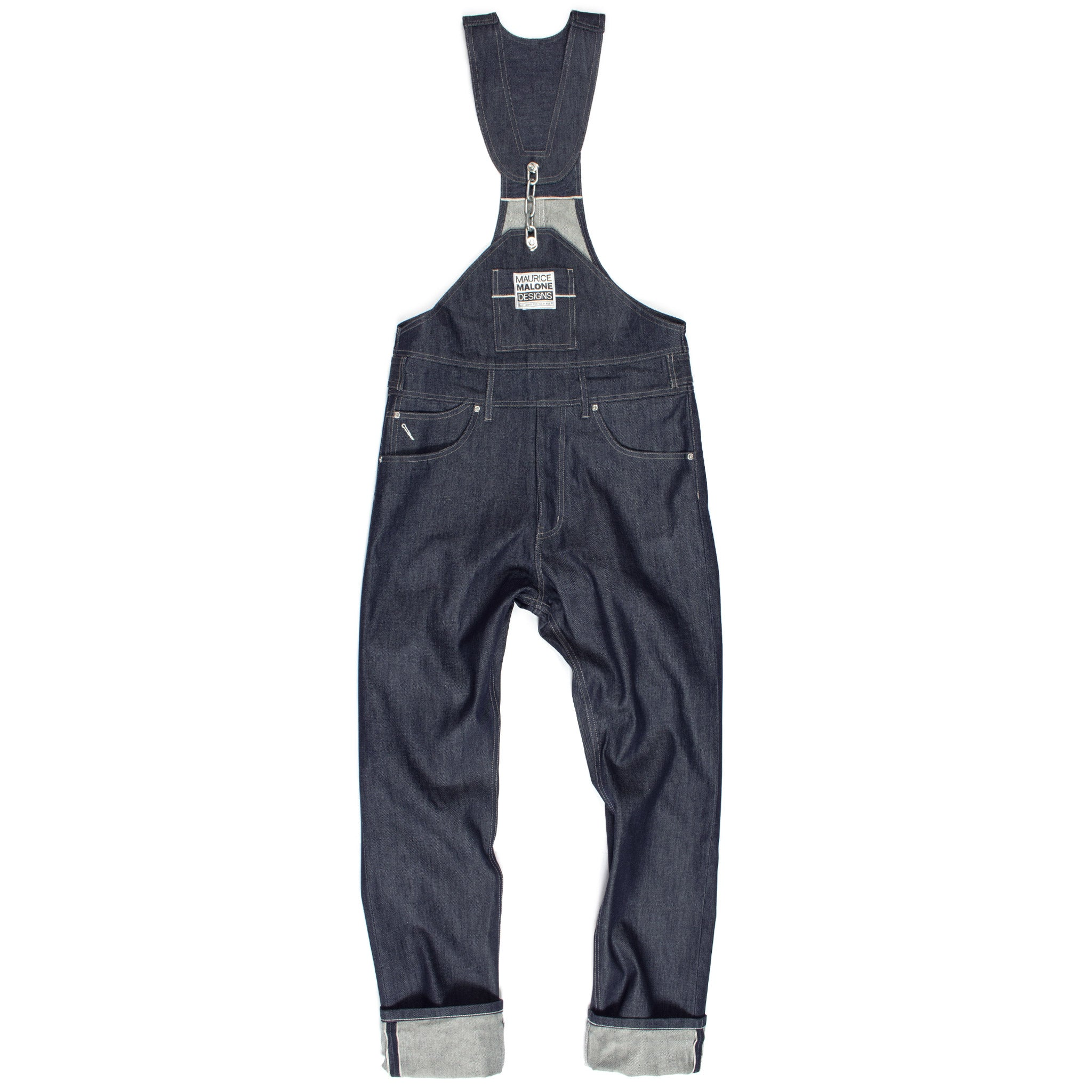 Maurice Malone chain-link selvedge raw denim overalls