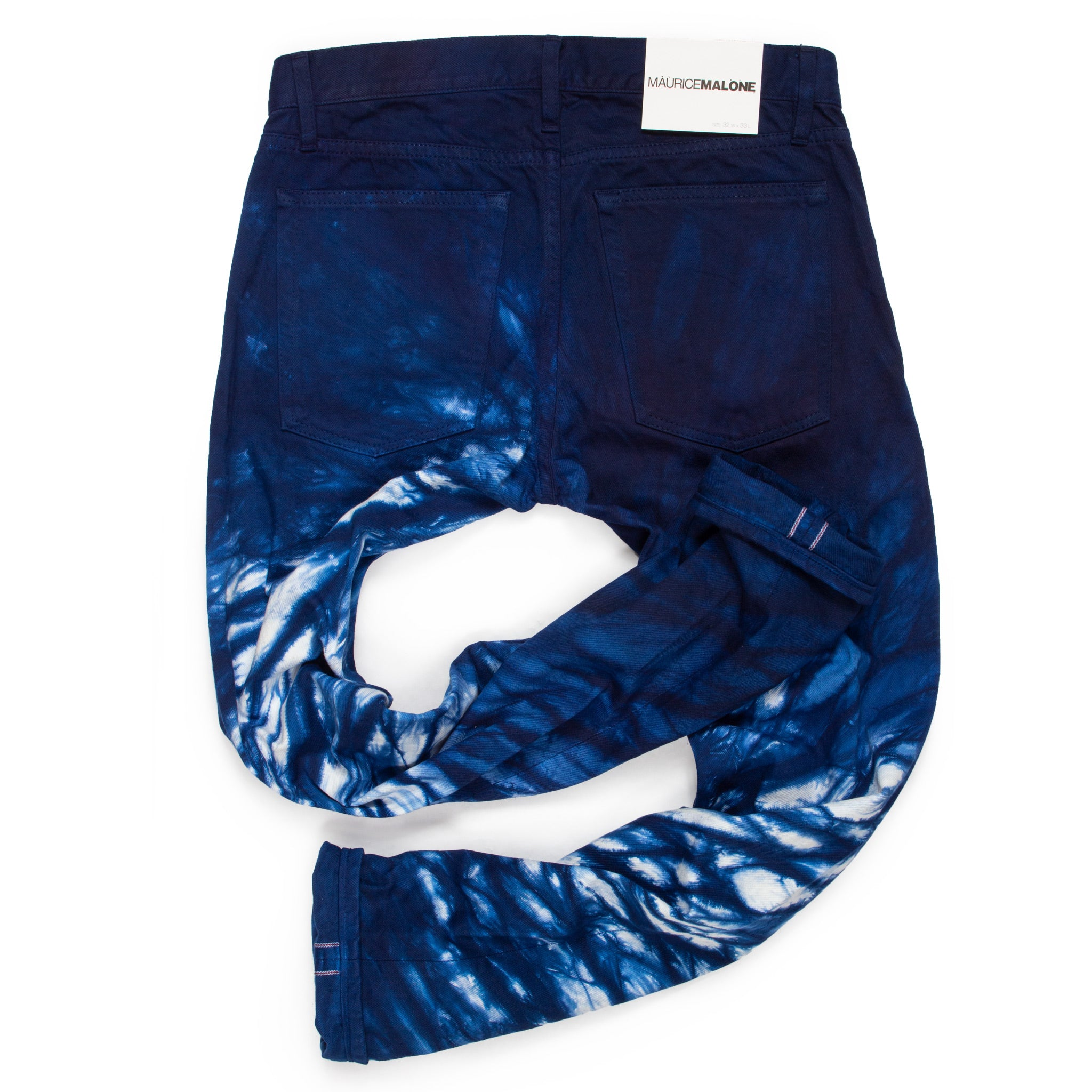 Rear view of handmade Raging Wave shibori jeans by Maurice Malone x Arimatsu Shibori-Some