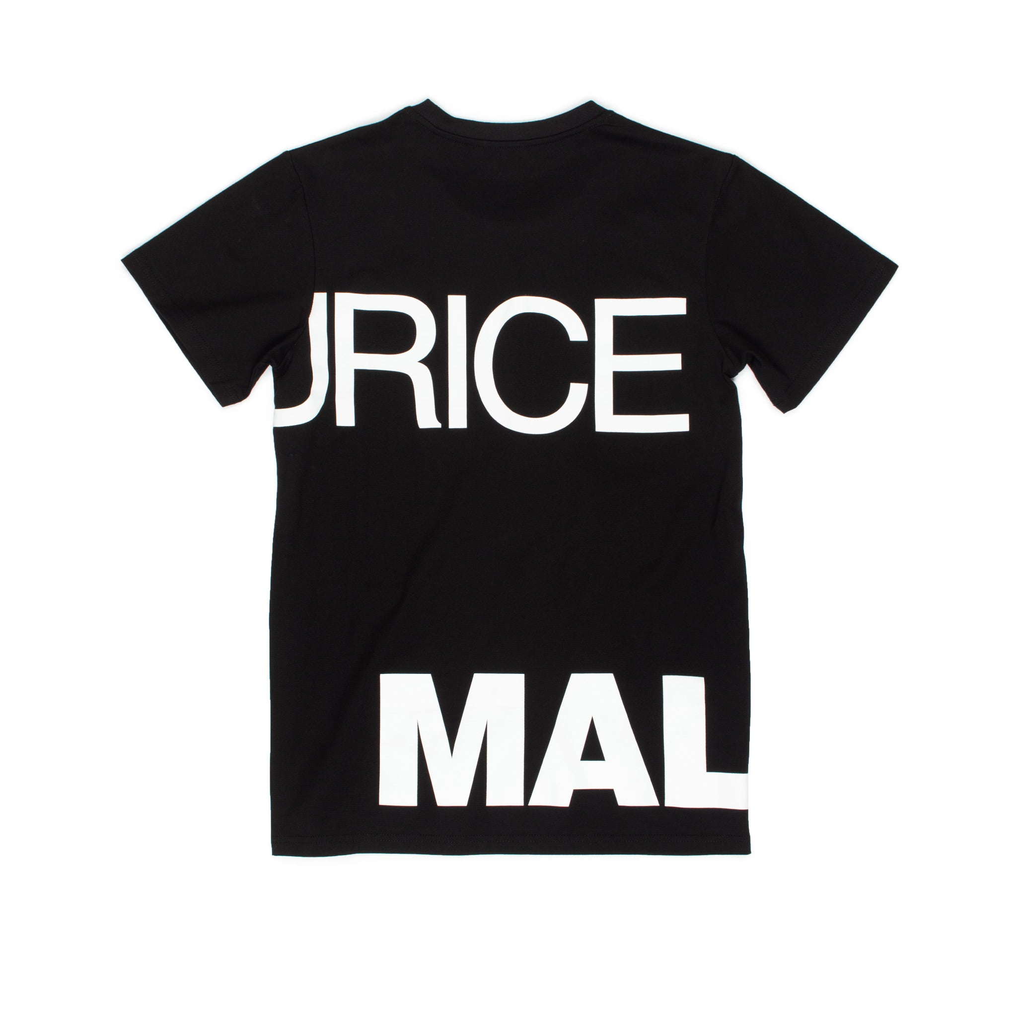 Rear view of black t-shirt with Maurice Malone logo