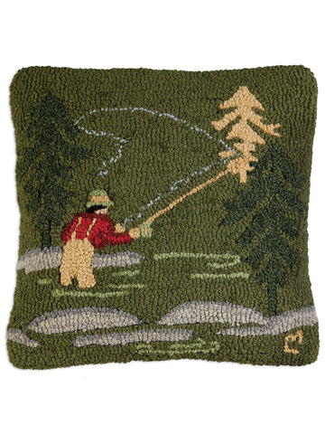 Fly Fisherman Hand Hooked Pillow