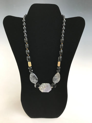 Agate and Black Crystal Necklace