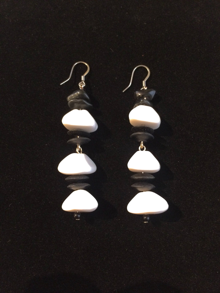 Black and White Bakelite Earrings