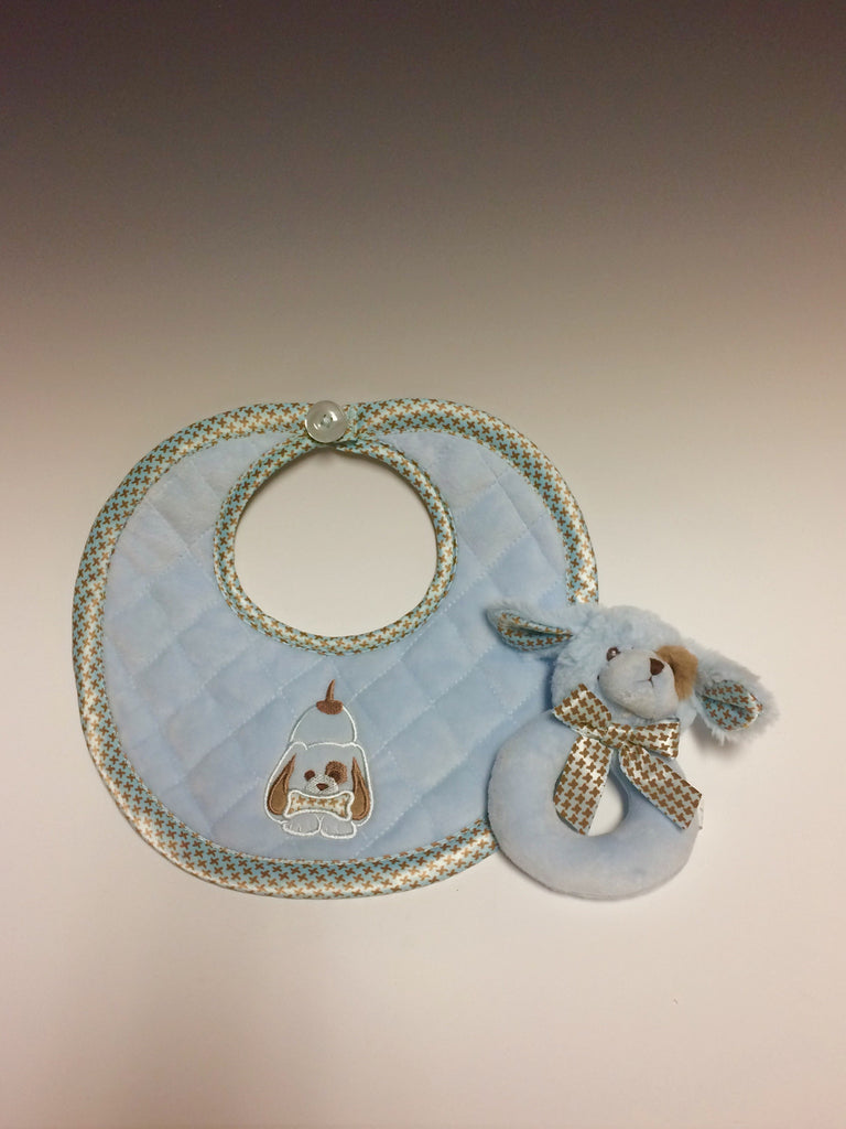 "This is an essential set for a beautiful new born! Both the rattle and bib are made of new material polyester for softness and easy care. The bib is machine washable, of course! The rattle is 5 1/2"" long and the bib is 10"" by 10"". Bow Wow!!"