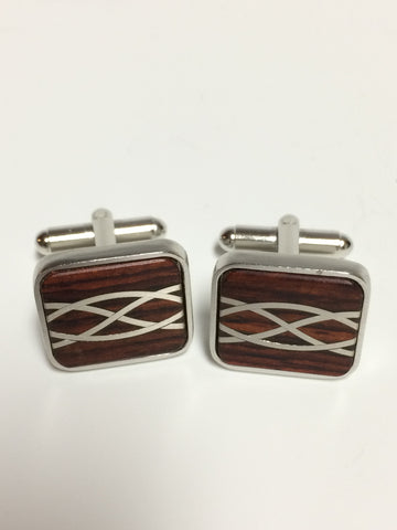 Cocobolo and Argentium Silver Cuff Links