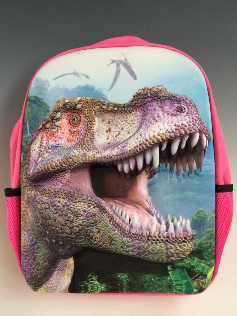 "Wear this and your back will always be covered by the mighty Tyrannosaurus Rex! The raised texture of this fierce guardian likes to protect books for both kids and adults. Made of semi rigid plastic for ages 5 years and up. Adjustable. 13""x15"""