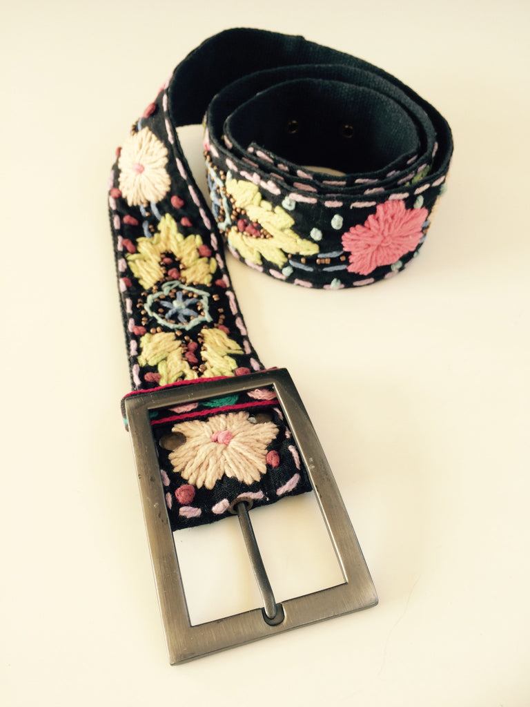 Black Multi Colored Embroidered Belt Tender Land Home gift women's accessories birthday Christmas Mother's Day