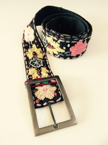 Black Multi Colored Embroidered Belt