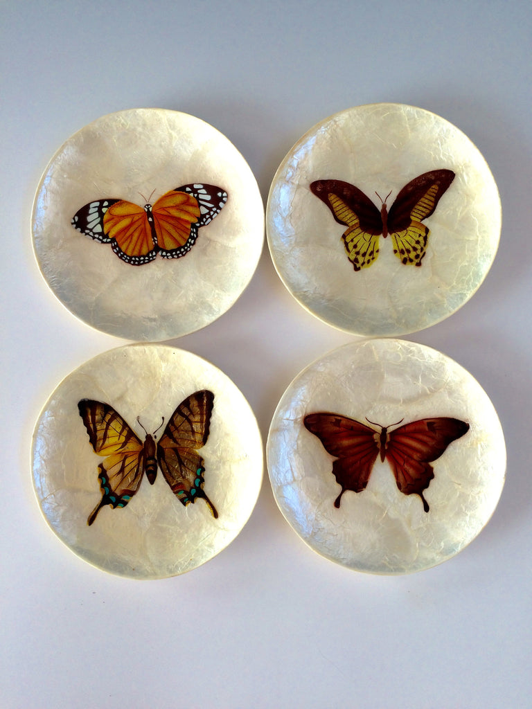 Butterfly Capiz Plate Set Tender Land Home gift Christmas stocking stuffer Mother's Day birthday home accessories entertaining food