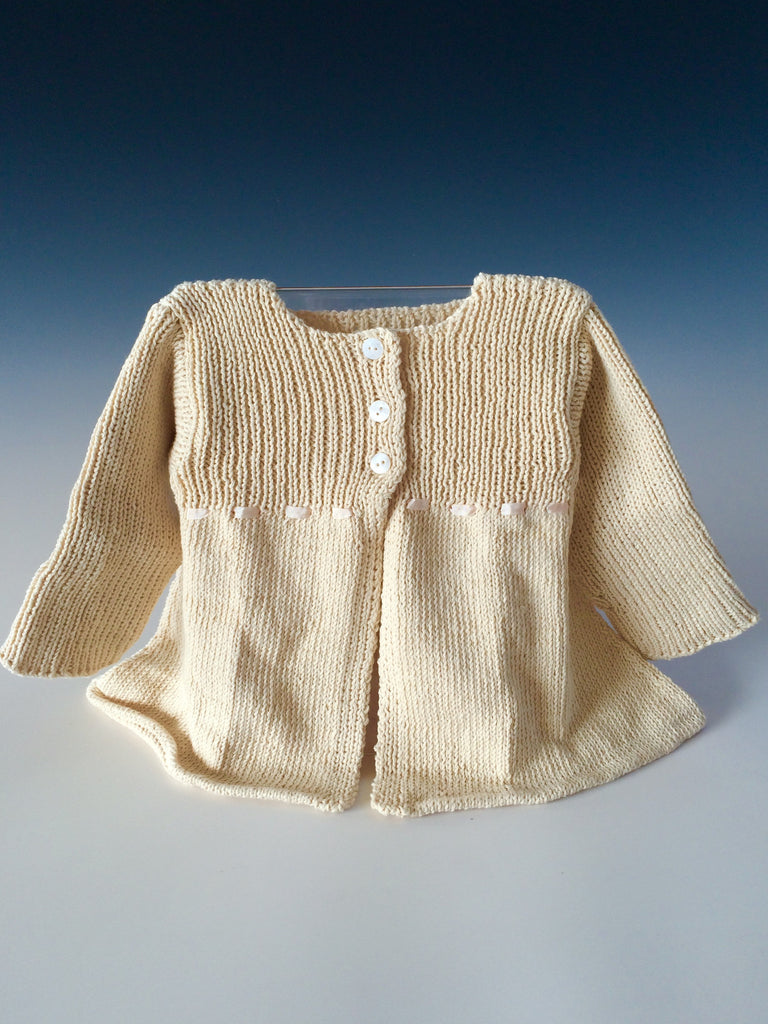 Handknit Baby 3 Button Sweater Dress Tender Land Home birthday Christmas babyshower cotton organic