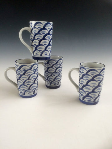 Hand Painted Blue Wave Mug Set