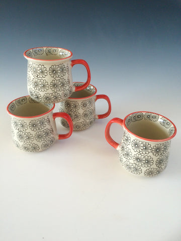Hand Painted Ceramic Floral Mug Set