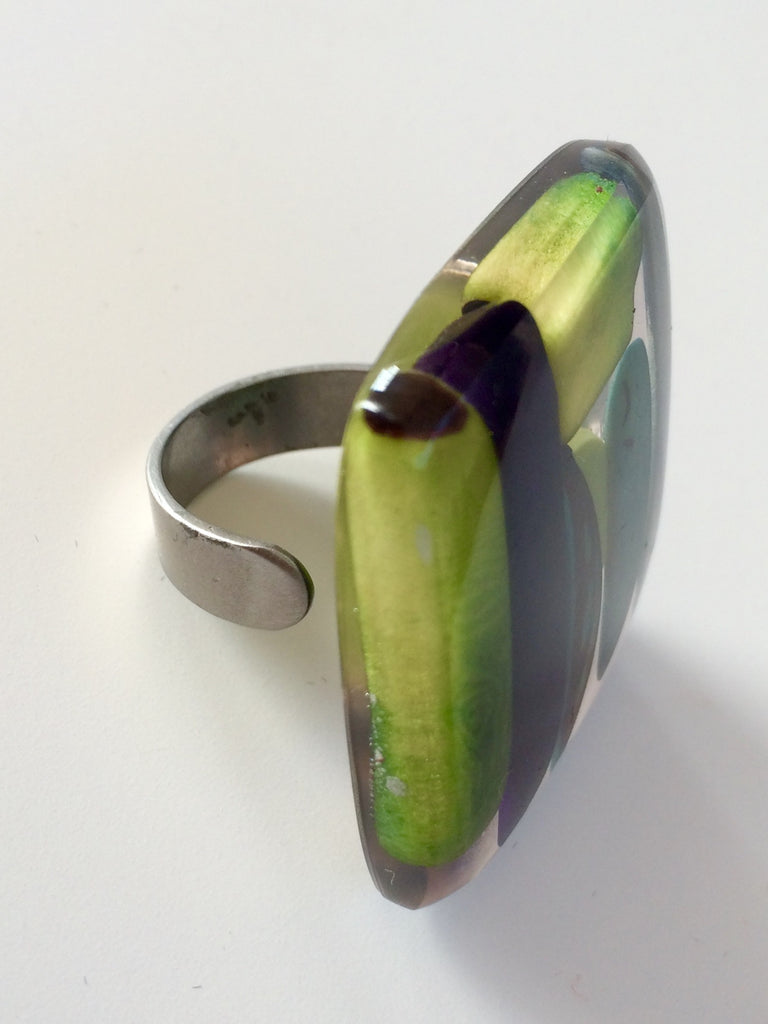 Adjustable Mosaic Tagua Nut Ring
