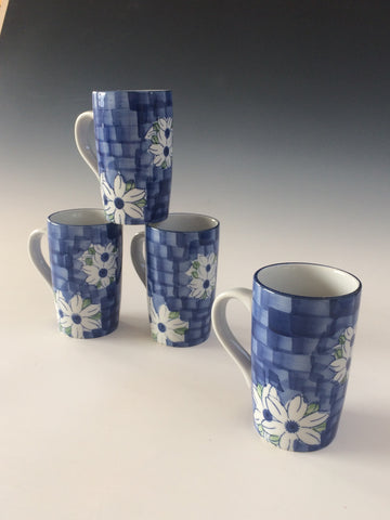 Hand Painted Blue Daisy Mug Set