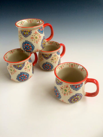 Hand Painted Ceramic Mug Set