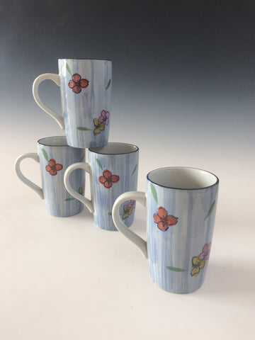 Hand Painted Multi Color Floral Mug Set