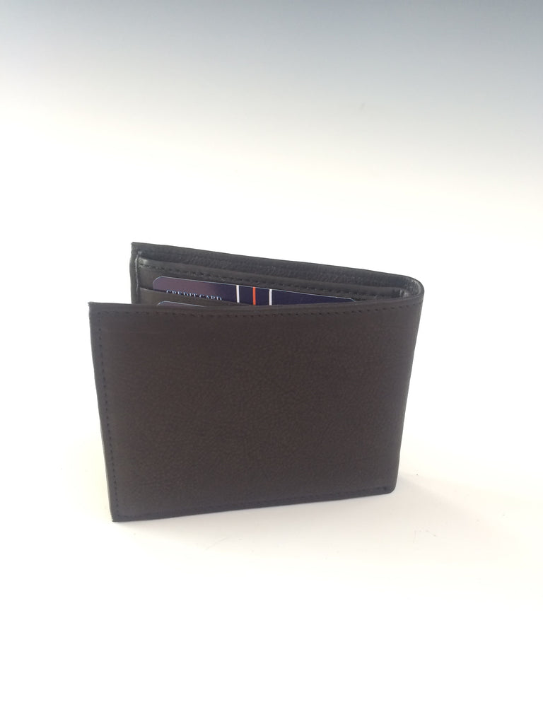 "Genuine Leather Men's Wallet holds everything! With compartments to hold 14 credit cards there's a detachable section for 5 more. You'll always carry with you what you need with this wallet - a window pocket for your driver's license, two open pockets and two full length bill compartments. Approximate size 4 1/4"" x 3 1/2"" x 7/8""."